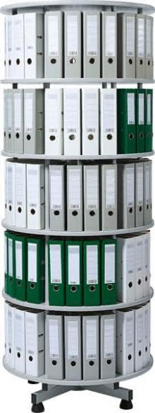 Deskin Ordner-Drehsäule 5 Etagen bis zu 120 Ordner, 800 mm x 2030mm Höhe