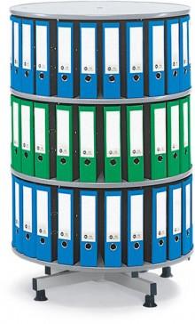 Deskin Ordner-Drehsäule 3 Etagen bis zu 72 Ordner, 800mm Ø x 1300mm Höhe