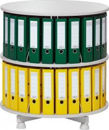 Deskin Ordner-Drehsäule 2 Etagen bis zu 48 Ordner,800mm Ø, einzeln drehbare