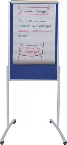 Kombi Moderationstafel mobil, 78 x 125 cm, Alurahmen, Filz blau