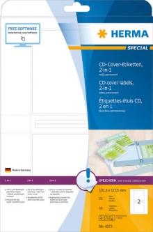 Etikett CD Cov. I+L+K 121,5x117,5mm weiß 25 Blatt=50 Stück