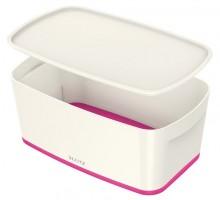 MyBox 5l, klein, mit Deckel, weiß/pink, 318x128x191mm,