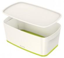MyBox 5l, klein, mit Deckel, weiß/grün, 318x128x191mm,