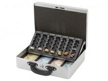 Geldkassette mit Zähleinsatz silber 30x24,5x9,3cm