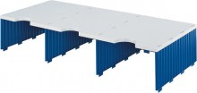 Styrodoc trio Aufbaueinheit 3Fächer breit, Jumbohöhe grau/blau