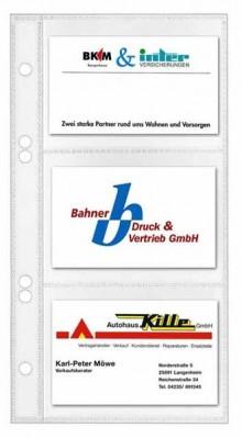 PP-Visitenkartenhülle m.3 Tasc 6-Fach Lochung + Bl.Präg.