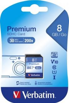 SDHC Speicherkarte, 8 GB, Premium Class 10, U1, UHS-I 30MB/s, 200x