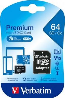 microSDXC Speicherkarte, 64 GB, Premium, Class 10, U1, UHS-I 45MB/s,