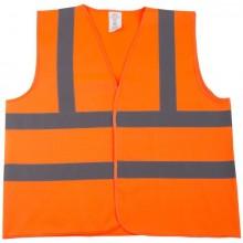 Pannen-Warnweste, Polyester, neon- orange, mit 2 reflektierenden Strei-
