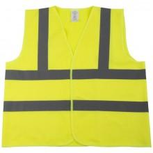 Pannen-Warnweste, Polyester, neon- gelb, mit 2 reflektierenden Streifen,