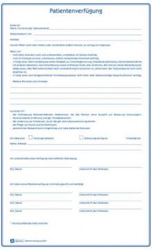 Patientenverfügung A4, Vordruckset