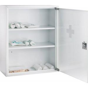Erste-Hilfe-Verbandsschrank aus Stahl, weiß lackiert, Glastür mit