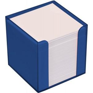 Büroring Zettelbox blau Kunststoff, 9x9x9cm, weißes Papier