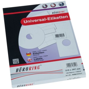 Büroring Etiketten, A4, 210 x 297mm, 100 Etiketten