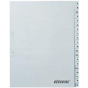 Büroring Register A-Z, Vollformat A4, 20-teilig, PP-Folie, grau