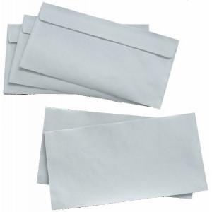Briefumschlag, DIN Lang, Haftklebung, weiß, 80g, mit grauen Inndendruck
