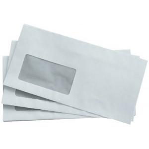 Briefumschlag, DIN Lang, mit Fenster Haftklebung, weiß, 80g