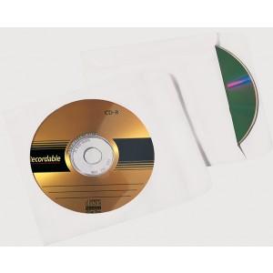 Büroring CD Hülle, Selbstklebend, weiß, 124 x 124mm mit Fenster, 90g