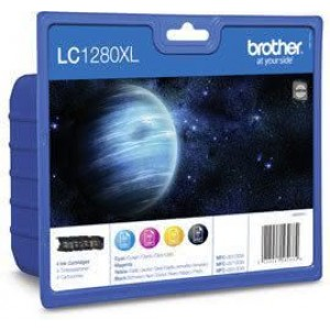 Multipack 4 Farben Tintenpatronen LC-1280XLBK für MFC J5910DW, J6510DW,