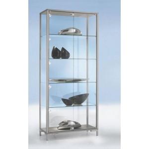 Standvitrine 1000 Dekor Silber mit vollverglastem Vitrinenteil
