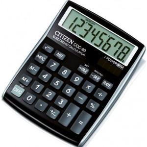 Citizen Tischrechner CDC-80 schwarz, Solar- und Batteriebetrieb, Prozent-