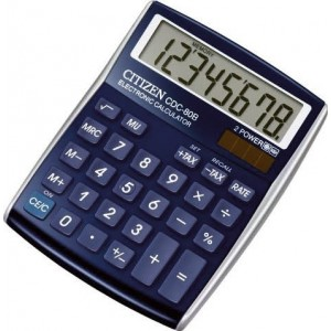 Citizen Tischrechner CDC-80 blau, Solar- und Batteriebetrieb, Prozent-