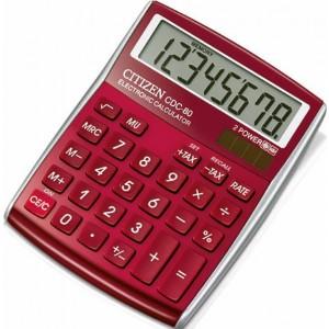 Citizen Tischrechner CDC-80 rot, Solar- und Batteriebetrieb, Prozent-