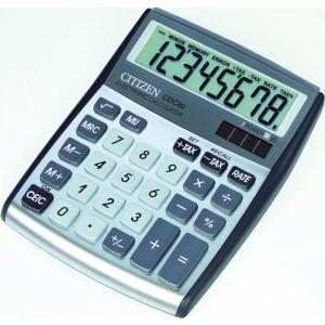 Citizen Tischrechner CDC-80 silber, Solar- und Batteriebetrieb, Prozent-