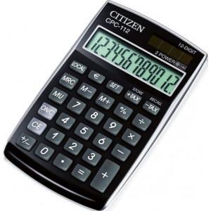 Citizen Tischrechner CPC-112 schwarz, Solar- und Batteriebetrieb, Prozent-