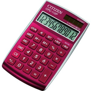 Citizen Tischrechner CPC-112 rot, Solar- und Batteriebetrieb, Prozent-