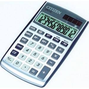 Citizen Tischrechner CPC-112 silber, Solar- und Batteriebetrieb, Prozent-