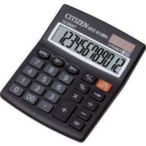 Citizen Taschenrechner SDC-812 BN 12-stelliges Display, schwarz