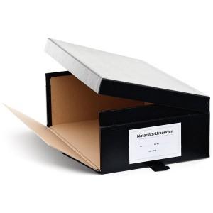 Urkundenkasten Variante A schwarz, seilt. aufklappbarer Deckel