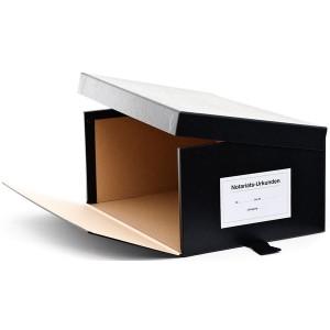 Urkundenkasten Variante B schwarz, seilt. aufklappbarer Deckel,