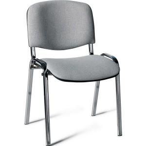 Besucherstuhl mit Chromgestell, grau gepolsterte Sitz- und Rückfläche