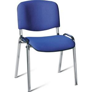 Besucherstuhl mit Chromgestell, blau gepolsterte Sitz- und Rückfläche
