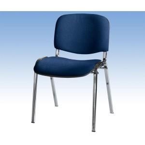 Besucherstuhl mit Chromgestell, dkl- bl. gepolsterte Sitz- und Rückfläche