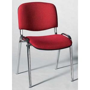 Besucherstuhl mit Chromgestell, bor- deaux gepolsterte Sitz- und Rückfl.
