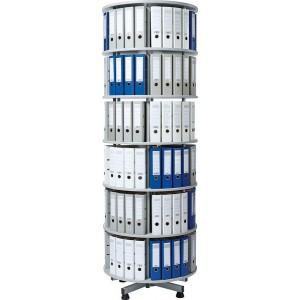 Deskin Ordner-Drehsäule 6 Etagen bis zu 144 Ordner, 800 mm Ø x 2390mm Höhe