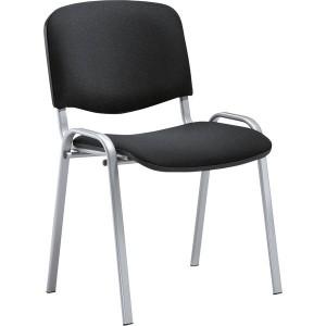Besucherstuhl aus alusilberf. Stahl- rohr, schwarz gepolstert