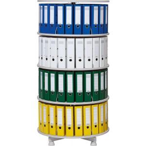 Deskin Ordner-Drehsäule 4 Etagen bis zu 96 Ordner,800mm Ø, einzeln drehbare