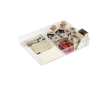 Glasklarer Schubladeneinsatz für Besteck und Zubehör, aus Acryl.