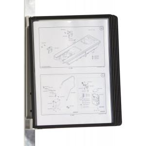 Vario Wall Magnetischer Wandhalter mit schwarzen Sichttafeln A4