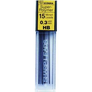 Ecobra Feinminen 0,3mm, HB, schwarz passend für alle Druckbleistifte