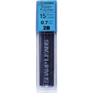 Ecobra Feinminen 0,7mm, 2B, schwarz passend für alle Druckbleistifte