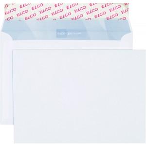 Briefumschlag hochweiss mit grauem Innendruck, B6, 100 g, Haftklebung.