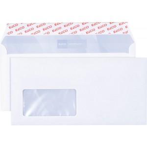 Briefumschlag hochweiss mit grauem Innendruck, DL, 100 g, Haftklebung,