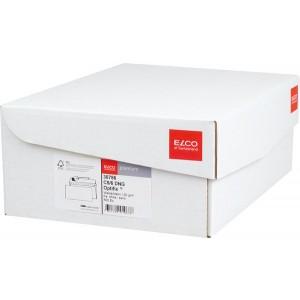 Briefumschlag hochweiss mit grauem Innendruck, DL, 100 g, Haftklebung.
