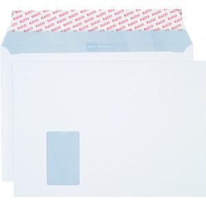 Briefumschlag hochweiss mit grauem Innendruck, C4, 120 g, Haftklebung,