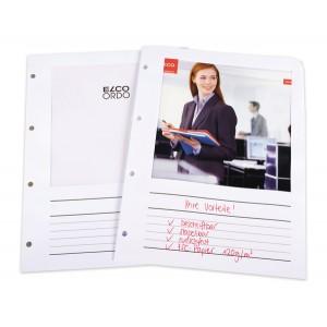 Ordo Prospekthülle Papier A4, weiß, m. Sichtfenster, Liniendruck